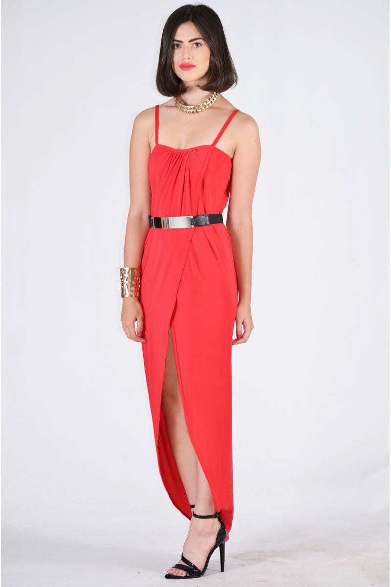 Sloane Strap Wrap Over Design Dress With Belt In Red