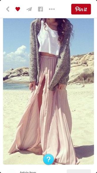 skirt boho maxi skirt pink skirt