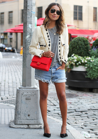 sincerely jules blogger jacket t-shirt red bag ripped shorts grey t-shirt shorts shoes bag jewels