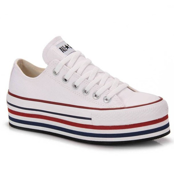 shoes converse all white sneakers platform