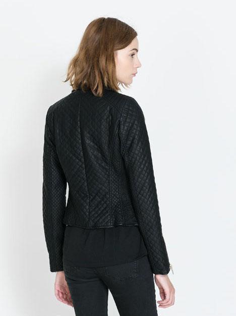Black Lapel Long Sleeve Geo Pattern Crop Jacket - Sheinside.com