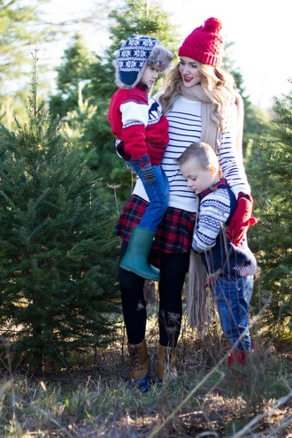 kiss me darling blogger sweater dress scarf leggings gloves hat shoes shirt fall outfits mother and child beanie boots striped sweater plaid skirt