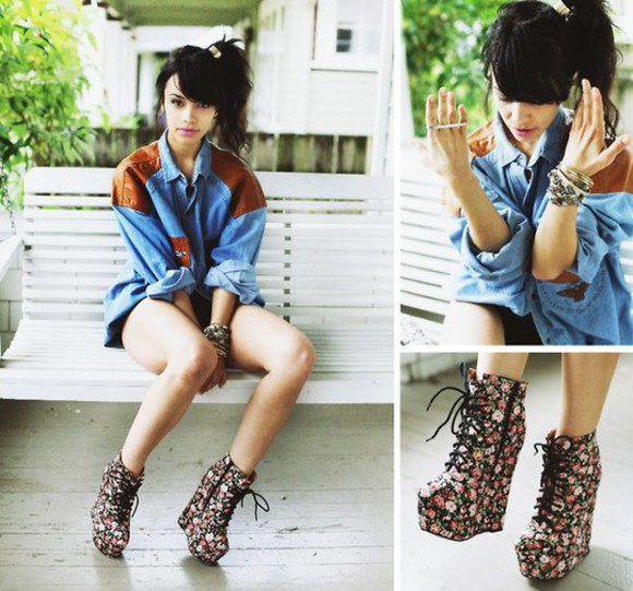laced up shoes high heels flowers blouse jacket jeans jacket