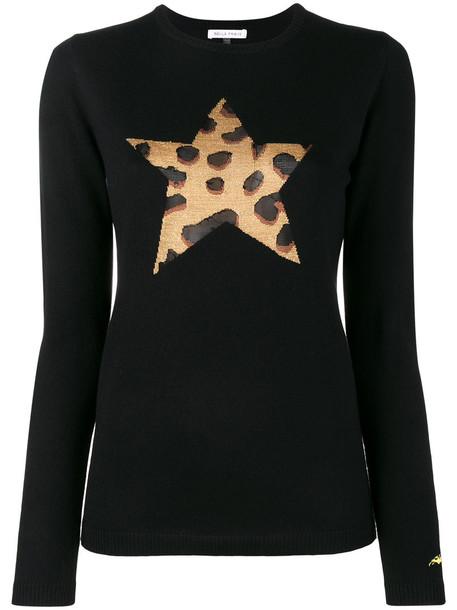 Bella Freud - leopard star knitted jumper - women - Rayon/Wool/Metallic Fibre - L, Black, Rayon/Wool/Metallic Fibre