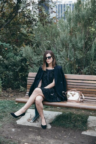 take aim blogger bag black dress metallic dress jacket shoes