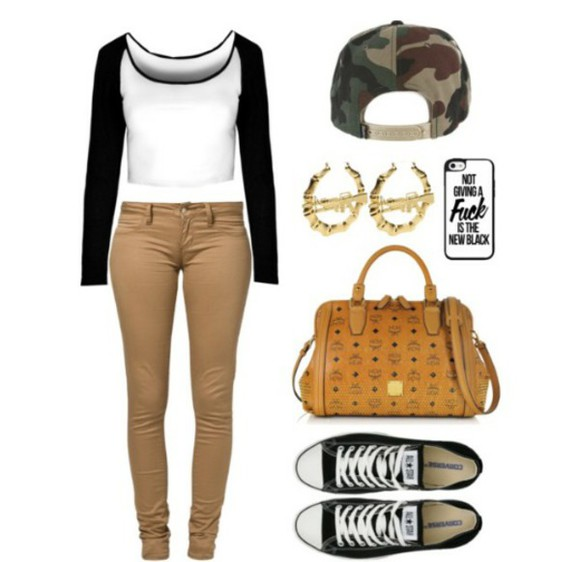 bag brown bag camo snapback khaki pants jersey croptop converse iphone case black converse