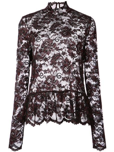 Ganni blouse women spandex scalloped lace black top