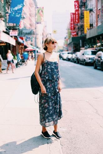 natalie off duty blogger printed dress fall dress chiffon dress