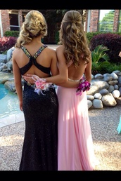 dress,black,sparkly dress,prom dress,long prom dress,open back