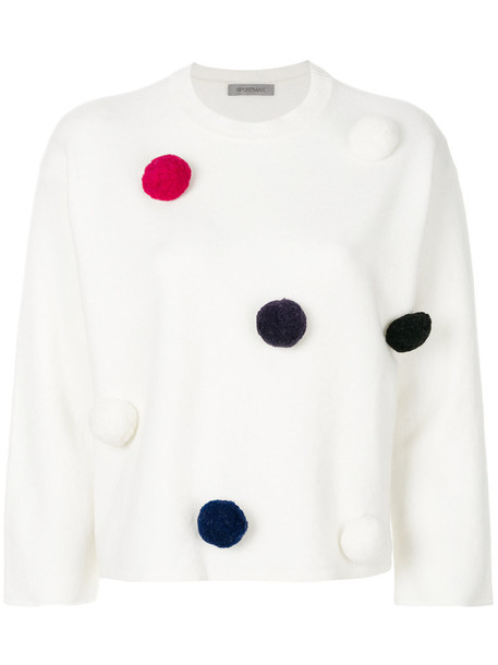 Sportmax sweater women spandex embellished ball white wool