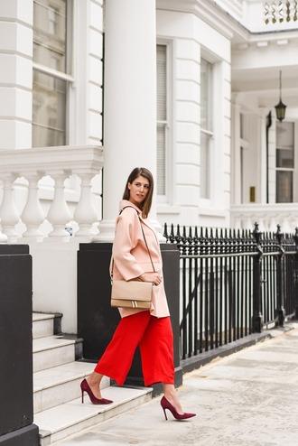 thank fifi blogger jewels pink coat red pants nude bag shoulder bag red heels