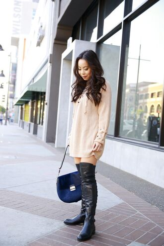 hautepinkpretty blogger sweater jewels bag shoes sweater dress lace up jumper nude sweater blue bag over the knee boots mini knit dress beige knit dress