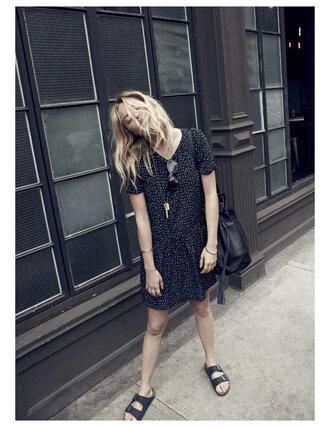 dress sezane printed dress spring dress slide shoes french girl style madewell black slides