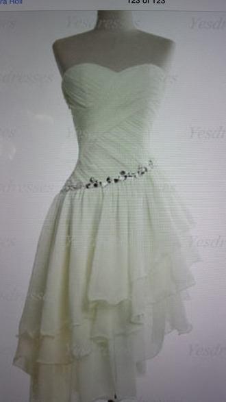dress ivory asymmetrical dress bodycon dress jewels ruffles