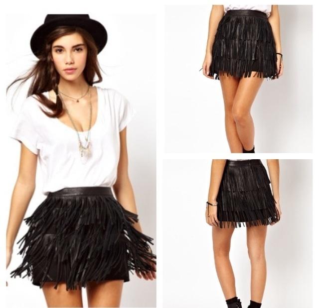 Leather Fringe Skirt / Precious Metalz