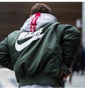 jacket,bomber jacket,menswear,mens jacket,nike,chinese writing,mens bomber jacket,vintage,green,white,nike supreme jacket,supreme