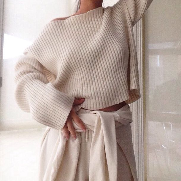 beige sweater ribbed jumper cream cool casual chic style top shirt casual chic t-shirt cute amazing pants bottoms girl tumblr nude sweater knitwear cropped cropped sweater