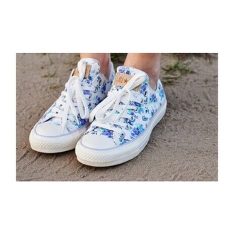 shoes blue all stars all star converse converse floral shoes floral