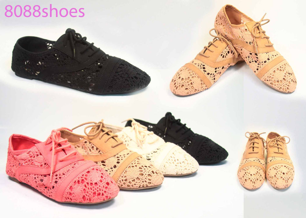 Women's Fashion Crochet Lace Up Rounded Flat Oxford Shoes 4 Colors Size 6 to 10 | eBay