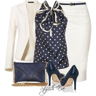 blouse polka dot sleeveless pencil skirt creme outfit royal blue gold high heels clutch
