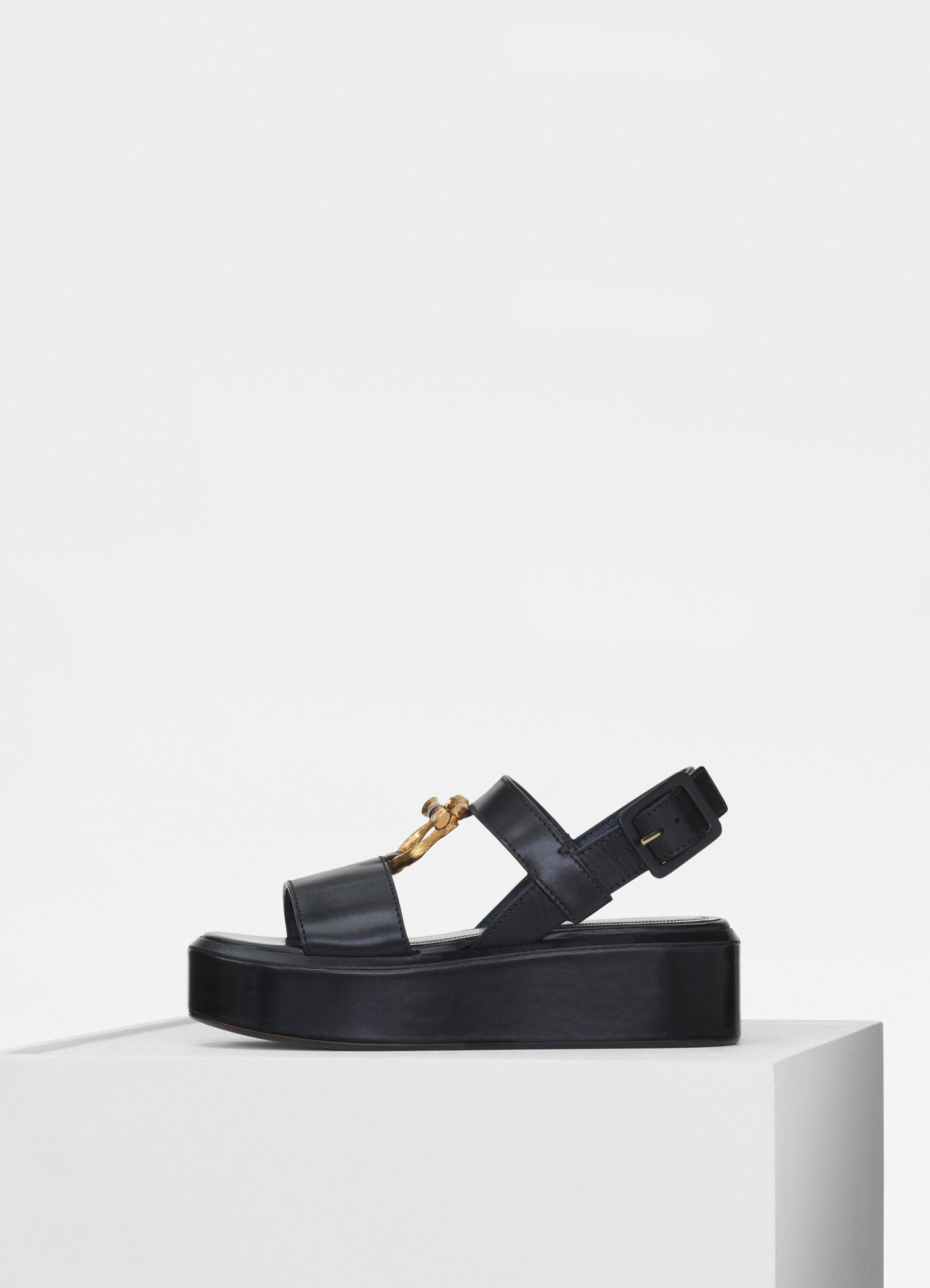 Flatform flat sandal with jewel in shiny calfskin Shoes | CÉLINE