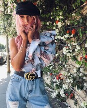 blouse,tumblr,floral top,hat,puffed sleeves,floral,one shoulder,gucci,gucci belt,logo belt,denim,jeans,blue jeans,ripped jeans,fisherman cap