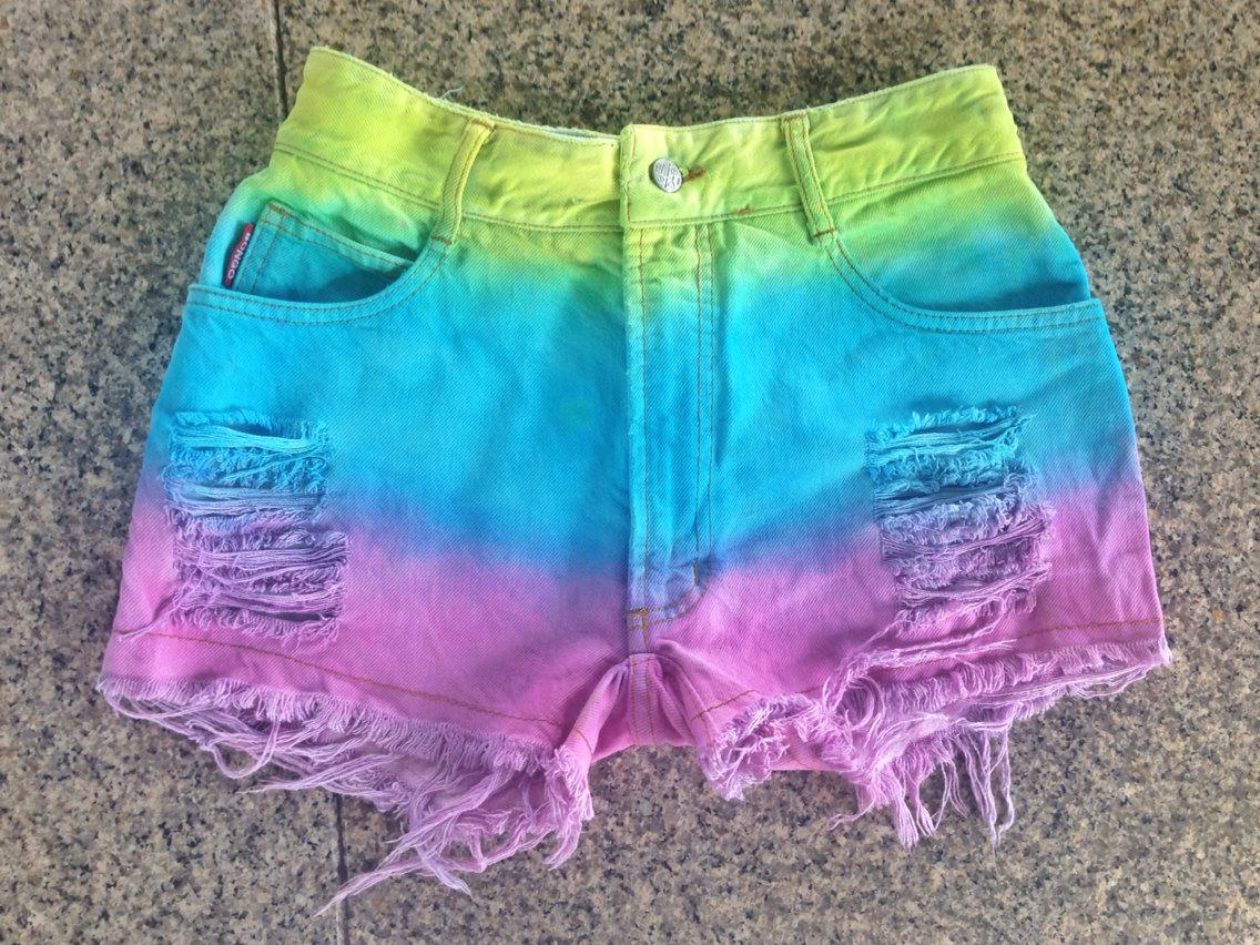 Rainbow Painted Dip Tie Dyed Ombre Bleach Woman Dye Denim Studded High Waist Levi Shorts