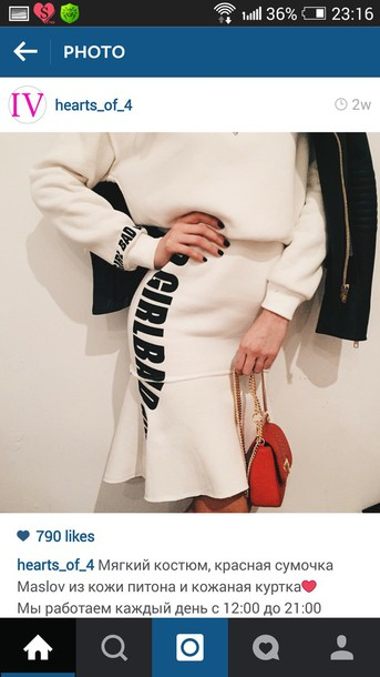 dress neoprene white skirt shirt