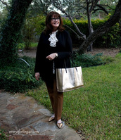 over50feeling40,blogger,jacket,bag,pants,blouse,metallic bag,tote bag,plus size,flats,ballet flats