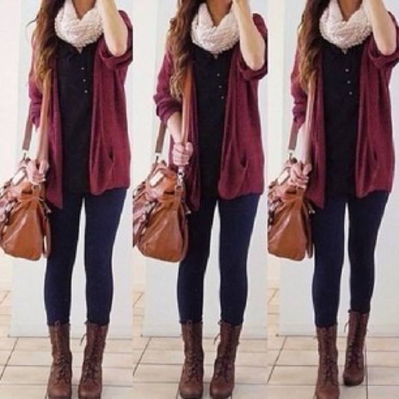 bag sweater jacket combat boots white scarf shoes infinite scarf jeans purse ring oversized cardigan blue shirt