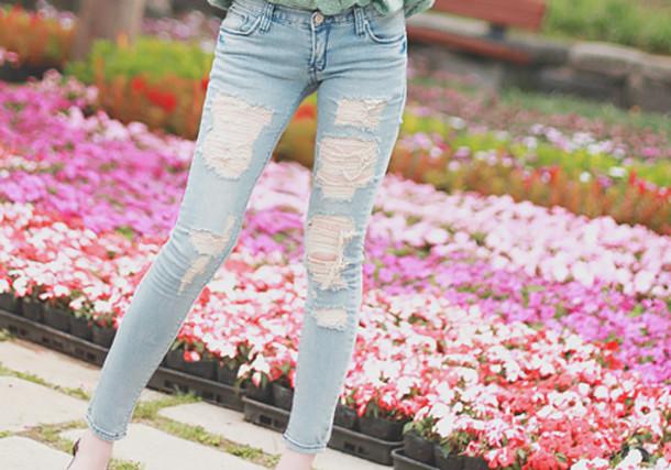 Jeans lightjeans holes skinny skinnyjeans cute clothes pants girl long pants light ...