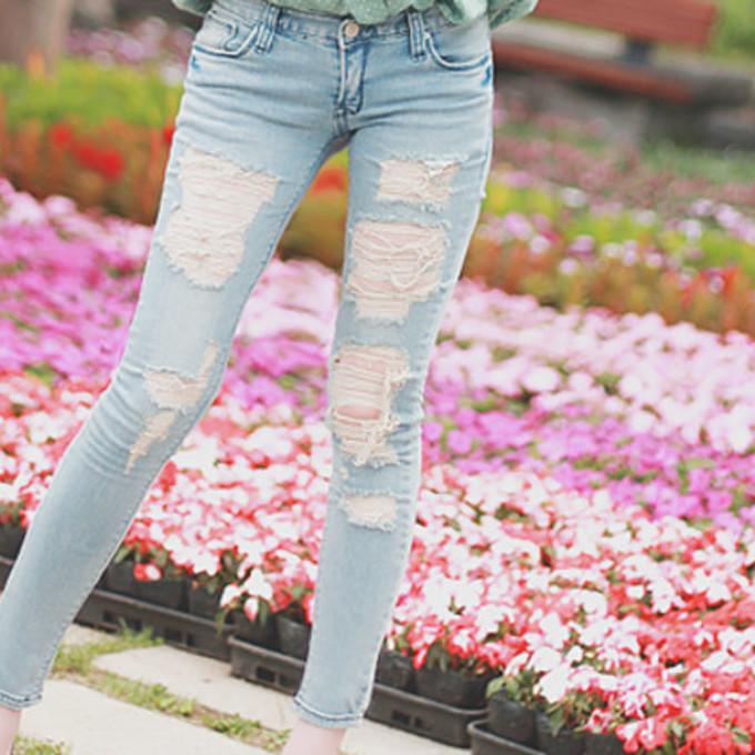 Girl cute clothes jeans pants lightjeans holes skinny skinnyjeans long denim pants light denim ...