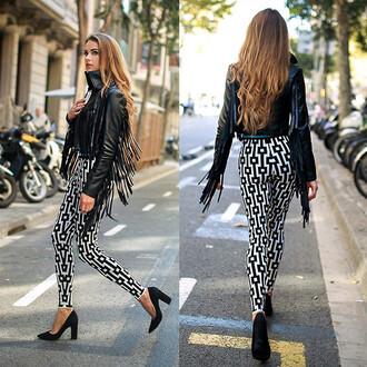 pants geometric geometric pants black and white