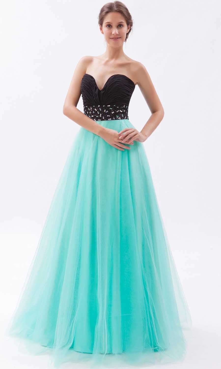 Black And Teal Organza Long Princess Prom Dresses KSP264 [KSP264 ...