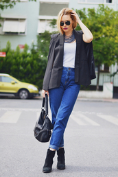 ag on i ya,blogger,jacket,jeans,jewels,top
