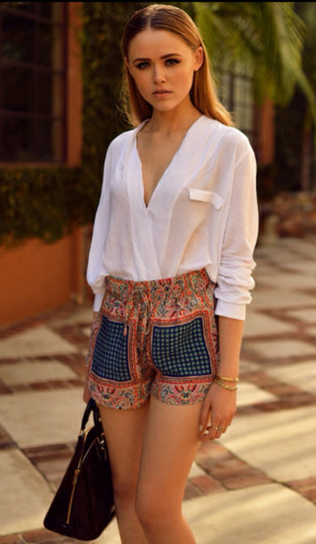 Blouse: shorts, hippie, fashion, summer, bags and purses ...