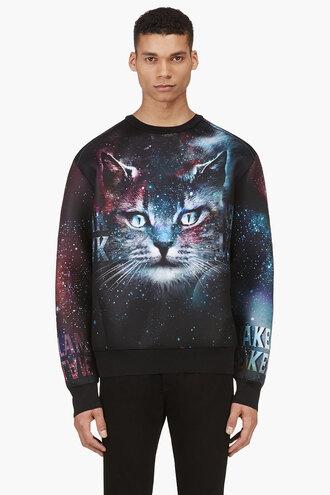cosmic black clothes sweater ssense exclusive cats crewneck teal menswear