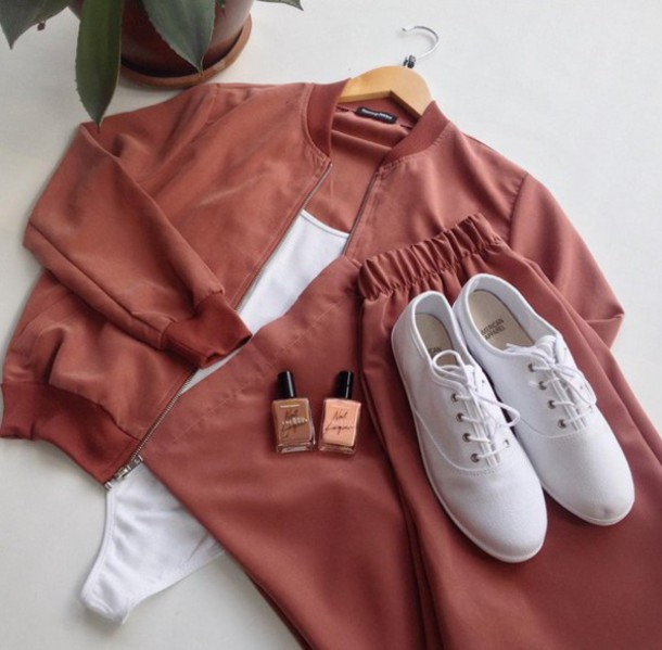 Jacket: rust, orange, salmon, bomber jacket, silk, cotton, cropped ...