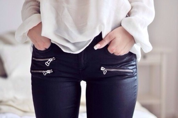 pants black leggings faux leather leggings leather leggings zip zipper