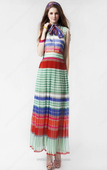 dress ribbon sleeveless muticolored pleated dress