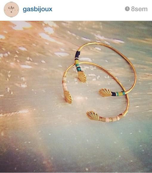 boho colourful jewels gold bracelets gold bracelets shell shell bracelet cute