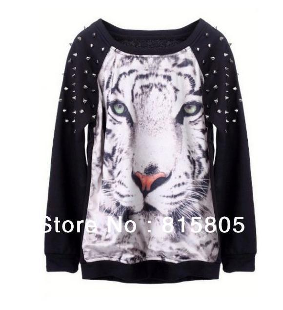 Aliexpress.com : buy 2014 new fashion women's 3d hoodies tiger face animal print rivets long sleeve sportswear casual sweatshirts free shipping from reliable printed hooded sweatshirts suppliers on fashion 3d t
