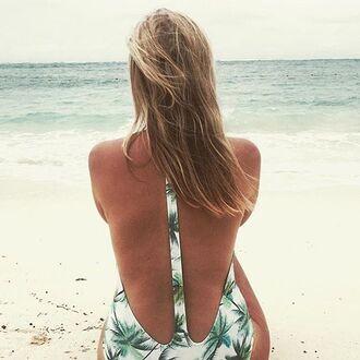 swimwear peixoto swim bikini one piece palm tree print palm tree print bikini deep plunge plunge bikini v neck v neck bikini white green black tree tree print
