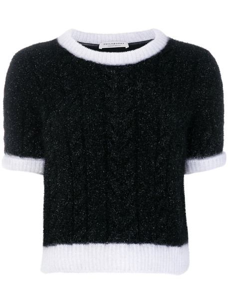 Philosophy di Lorenzo Serafini jumper cropped women black knit sweater