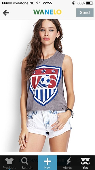 usa soccer tank top grey white white crop tops red blue shirt stars grey tank