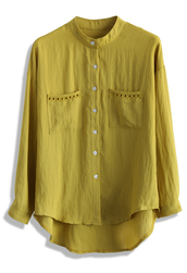 top,refine eyelet trimmed mustard top,chicwish,mustard top,eyelet trimmed