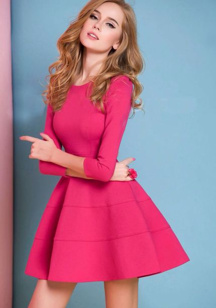 fe570f0a1aaf formal long sleeves skater dress dress pink short long sleeves