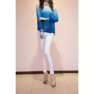 Fashion Ombre Long Sleeve Chiffon Blouse for Women_$23.78
