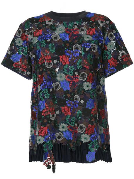 t-shirt shirt t-shirt women floral cotton blue top