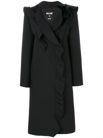 coat ruffle women spandex black